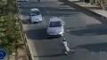 通行量が多い道を横断しようとした男、運が悪かった結果→